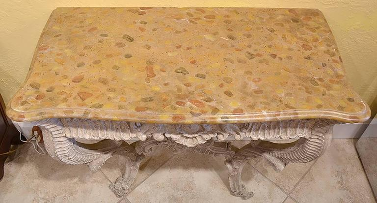 19th Century Italian Carved and Painted Faux Marble Top Console Rococo Style 6