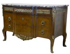 French Louis XV Style Marble Top Bronze Mounted Commode. Late 19th Century
