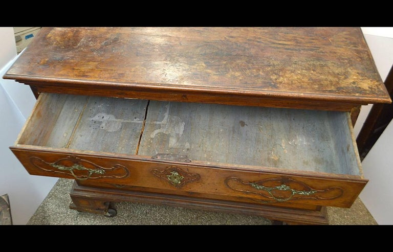 Large 18th Century Italian Carved Walnut Chest with Carved Side Panels For Sale 3