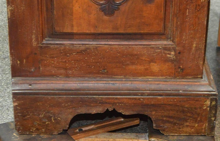 Large 18th Century Italian Carved Walnut Chest with Carved Side Panels For Sale 4