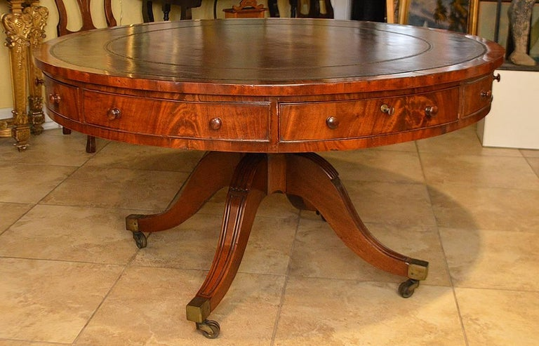 19th Century Mahogany Leather Top Rent Table with 4 Drawers & 4 Faux Drawers 7