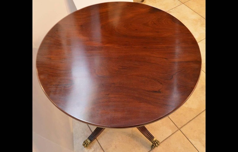 19th Century Federal Carved Mahogany Round Table with Brass Feet 5