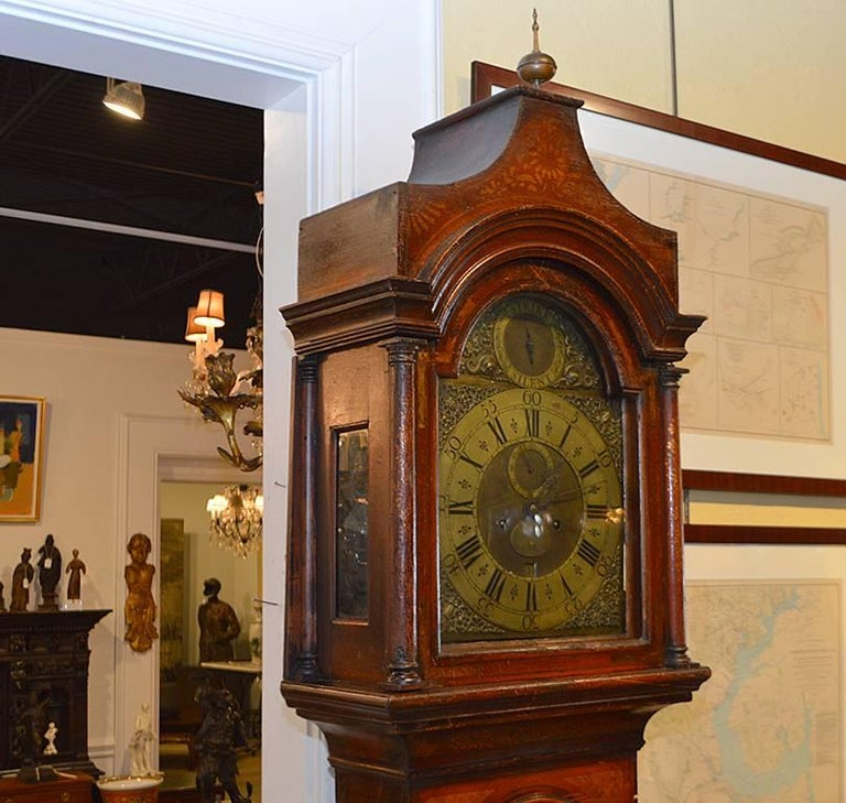 Wonderful English 18th-19th Century Red Chinoiserie Grandfather Clock 8