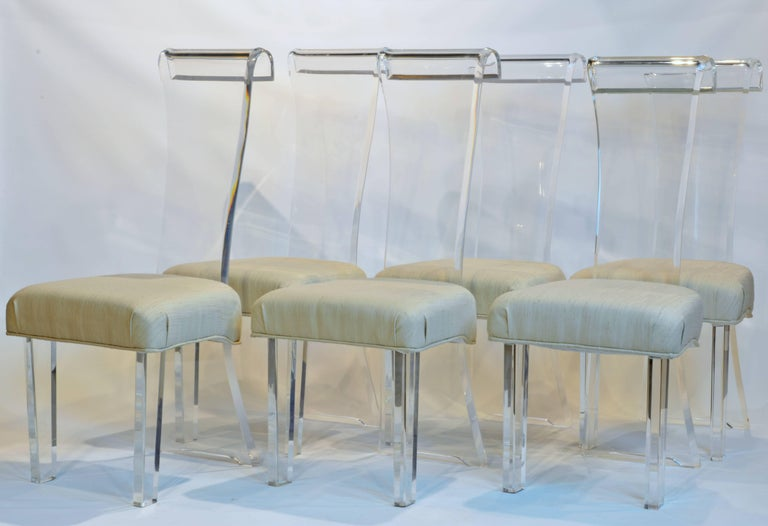 Set of Six Mid-Century, Sculptural Lucite High Back Dining Room Chairs with Silk 2
