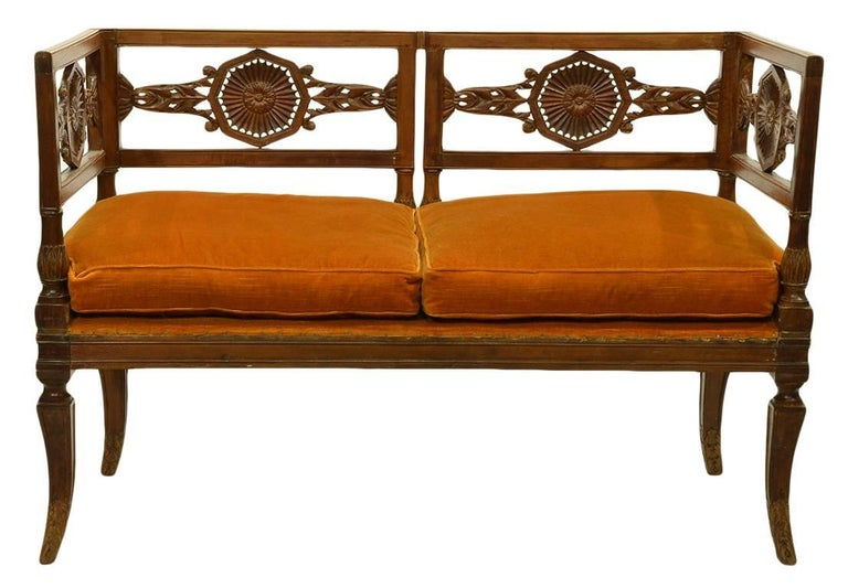 Early 19th Century Italian Neoclassical Carved Walnut and Fruit Wood Settee 4
