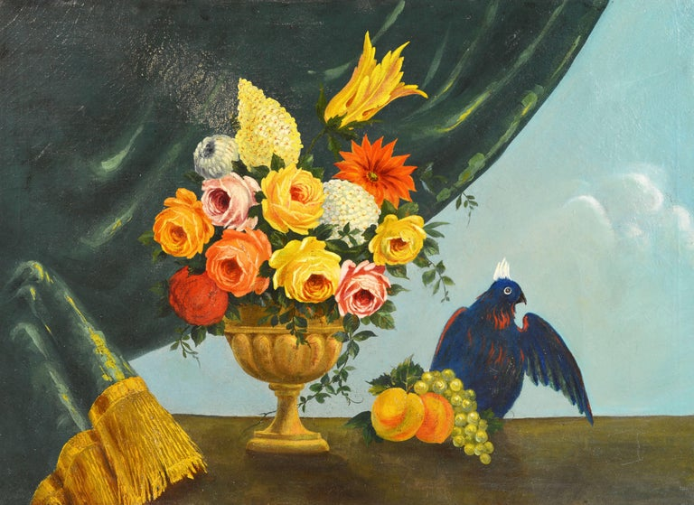This large and colorful painting, likely dating to the late 18th or early 19th century, features a stunning bouquet of flowers set in a classical urn complimented by a background of gold trimmed draping and the blue sky. What makes the painting so