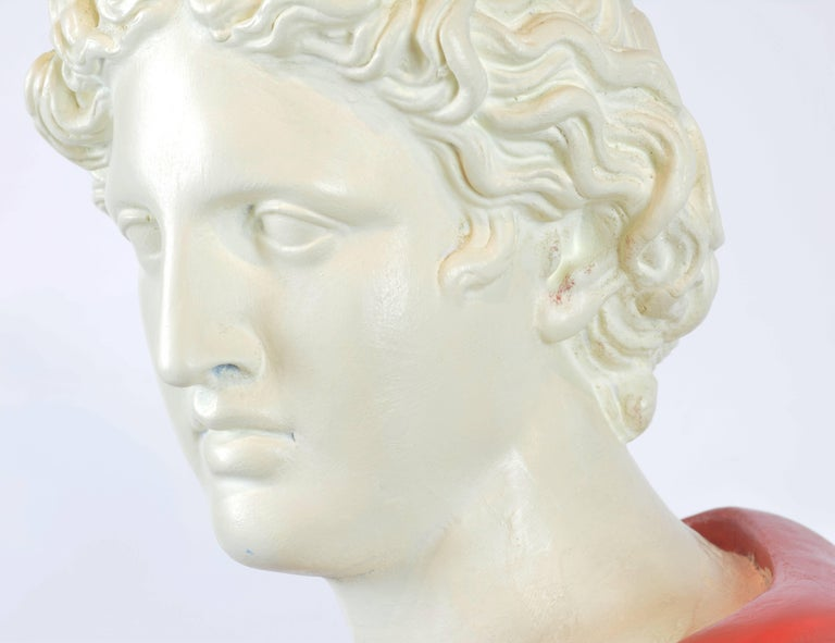 Unique Midcentury Polychrome Painted Plaster Bust of Apollo Belvedere 9