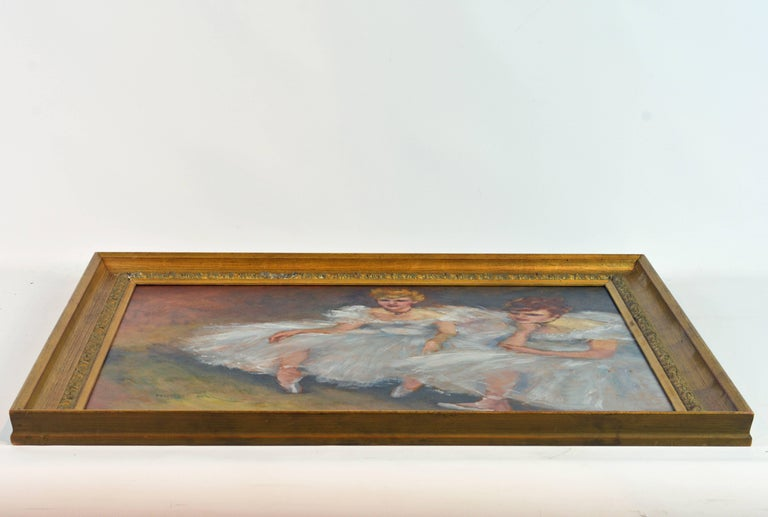 20th Century 'The Ballerinas' by Fried Pal, Hungarian 1893-1976, Oil on Panel, Stunning For Sale
