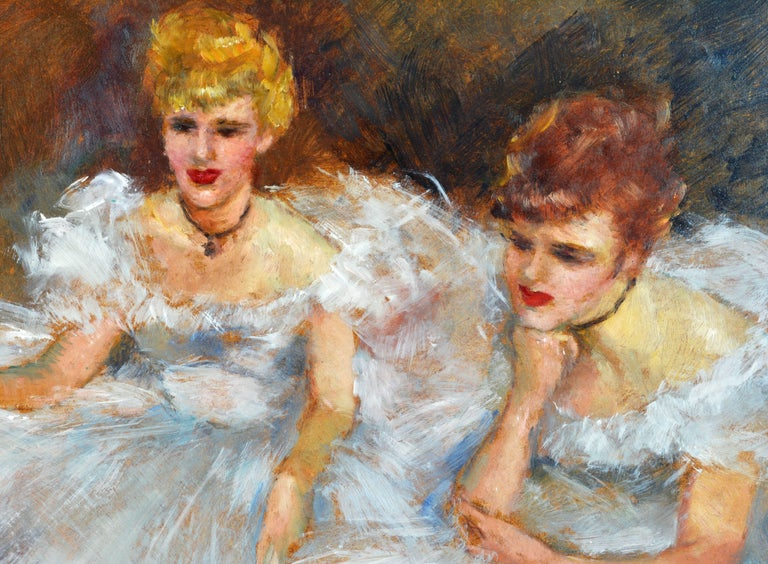 Mid-Century Modern 'The Ballerinas' by Fried Pal, Hungarian 1893-1976, Oil on Panel, Stunning For Sale