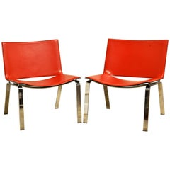 Pair of Italian Cattelan Lounge Chairs with Floating Seats on Chrome Legs