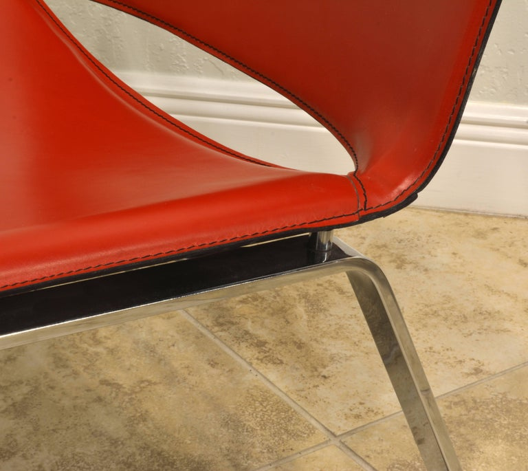 Steel Pair of Italian Cattelan Lounge Chairs with Floating Seats on Chrome Legs For Sale