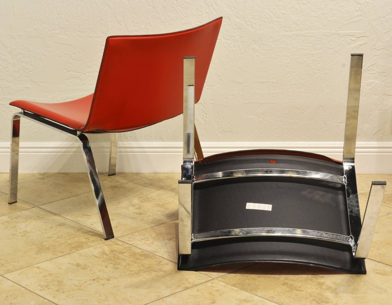 Pair of Italian Cattelan Lounge Chairs with Floating Seats on Chrome Legs For Sale 4