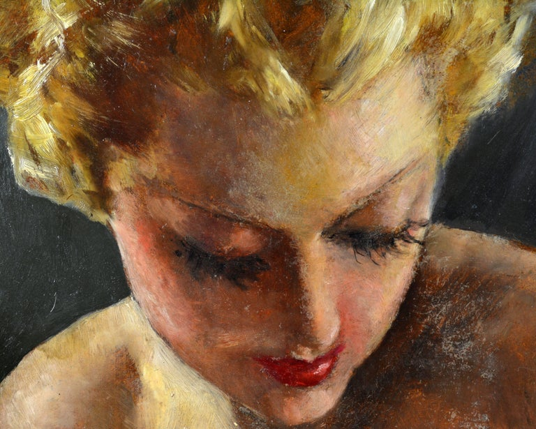 Wood Erotic Nude by Pal Fried, Hungarian 1893-1976, Oil on Panel, Stunning For Sale