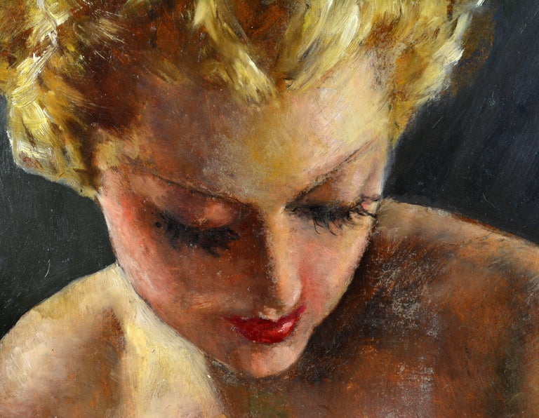 Mid-Century Modern Erotic Nude by Pal Fried, Hungarian 1893-1976, Oil on Panel, Stunning For Sale