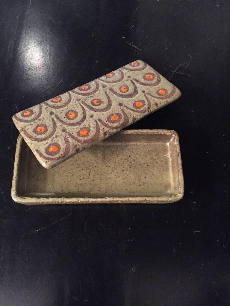 Raymor Three-Piece Ceramic Cigarette Box and Ashtray Set For Sale 2