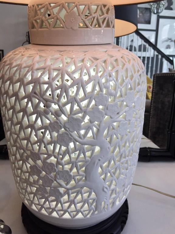 Pair of Blanc De Chine Piercework Lamps 6