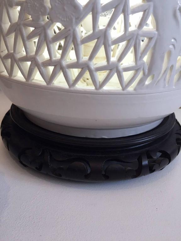 Pair of Blanc De Chine Piercework Lamps 5