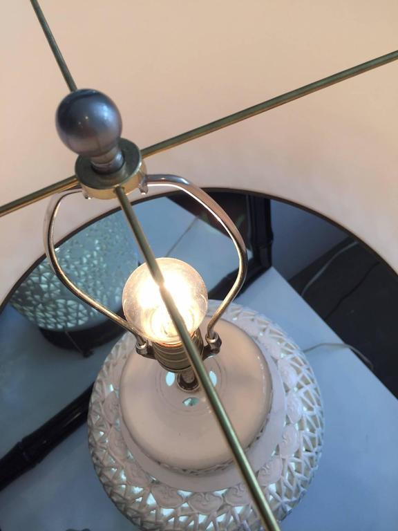 Pair of Blanc De Chine Piercework Lamps 7