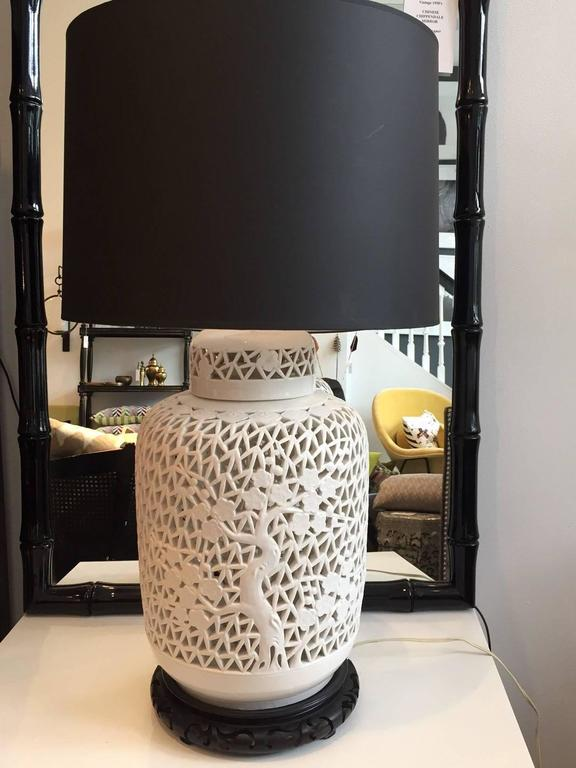 Pair of Blanc De Chine Piercework Lamps 3