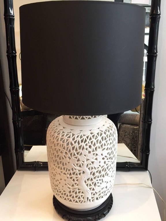 Pair of Blanc De Chine Piercework Lamps 4