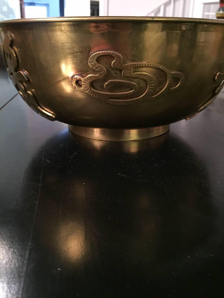20th Century Asian Brass Bowl In Excellent Condition For Sale In Washington, DC
