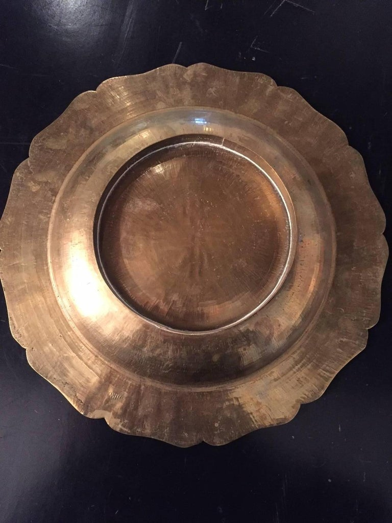 20th Century Asian Brass Plate 4