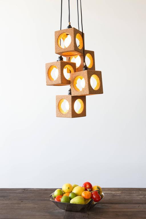 Modern Contemporary 'Worm Hole' Cork Pendant Lights
