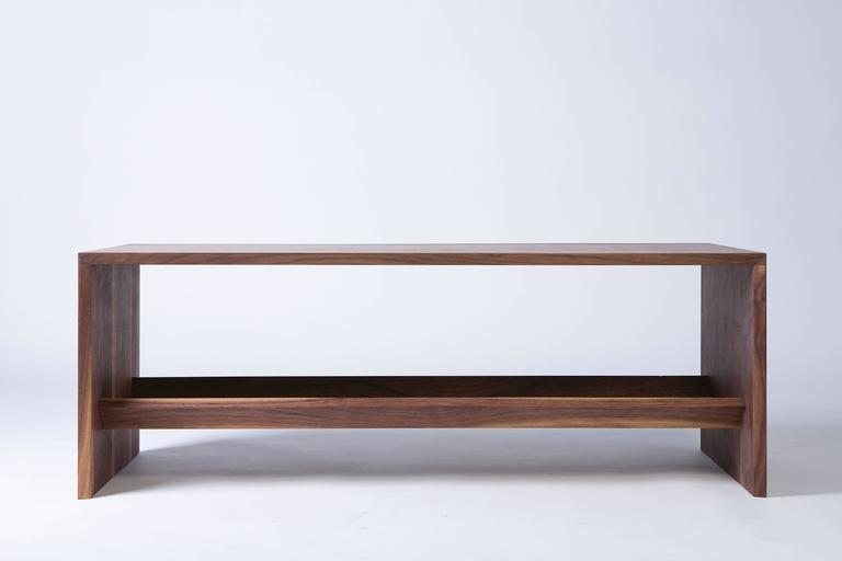 Mid-Century Modern Modern Walnut Coffee Table with Multi-Purpose Sub-Surface Trough For Sale