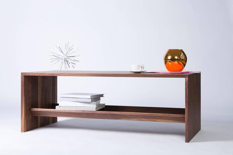 American Modern Walnut Coffee Table with Multi-Purpose Sub-Surface Trough For Sale