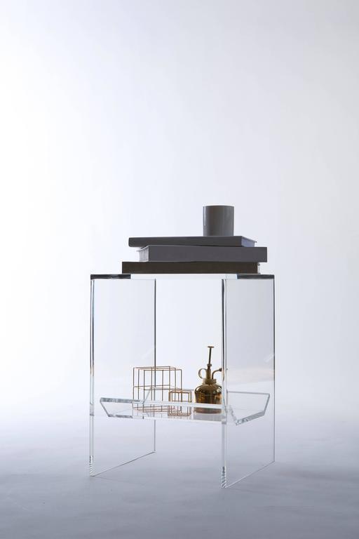 Modern Transparent Acrylic Side-Table with Multi-Purpose Sub-Seat Terrarium For Sale