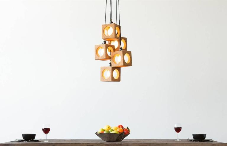 American Contemporary 'Worm Hole' Cork Pendant Lights