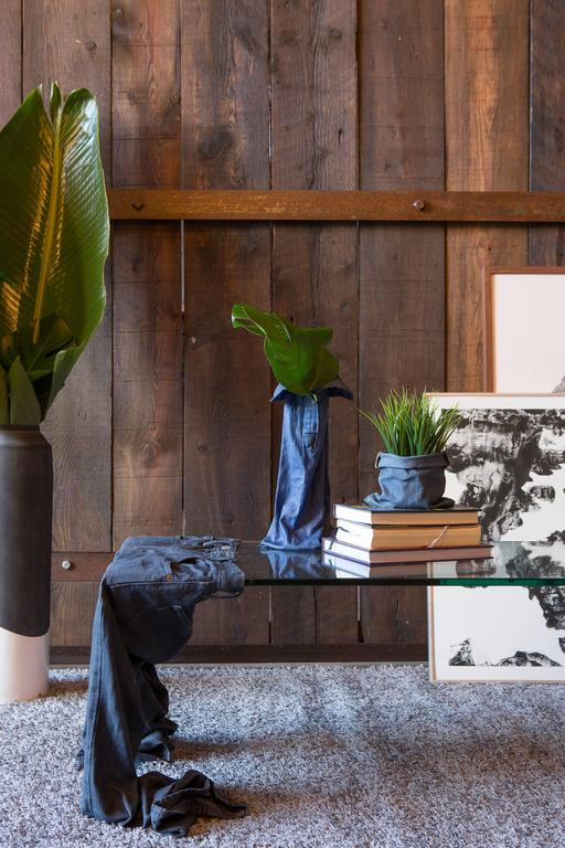 Post-Modern 'Worn' Coffee Table, Solidified Denim and Glass For Sale