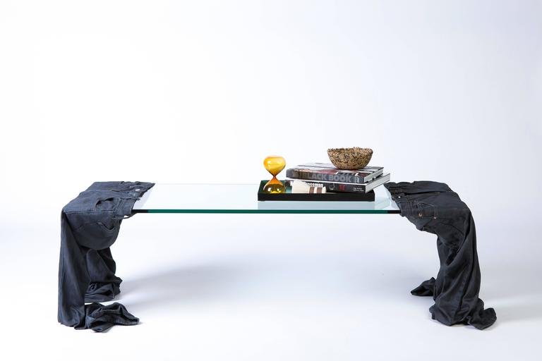 'Worn' Coffee Table, Solidified Denim and Glass In New Condition For Sale In Brooklyn, NY