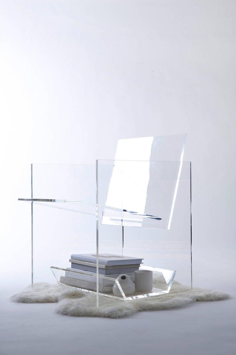 American Modern Transparent Acrylic Armchair with Multi-Purpose Sub-Seat Terrarium  For Sale