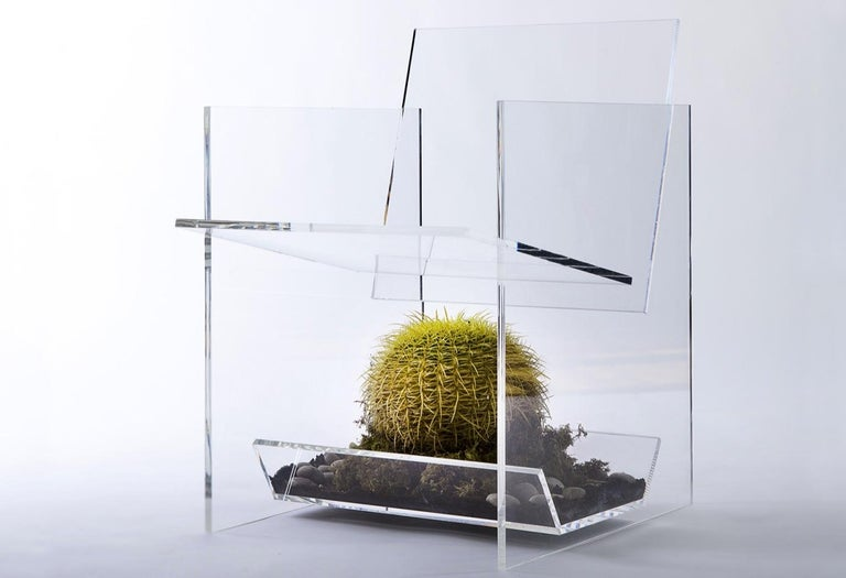 Modern Transparent Acrylic Armchair with Multi-Purpose Sub-Seat Terrarium  In New Condition For Sale In Brooklyn, NY