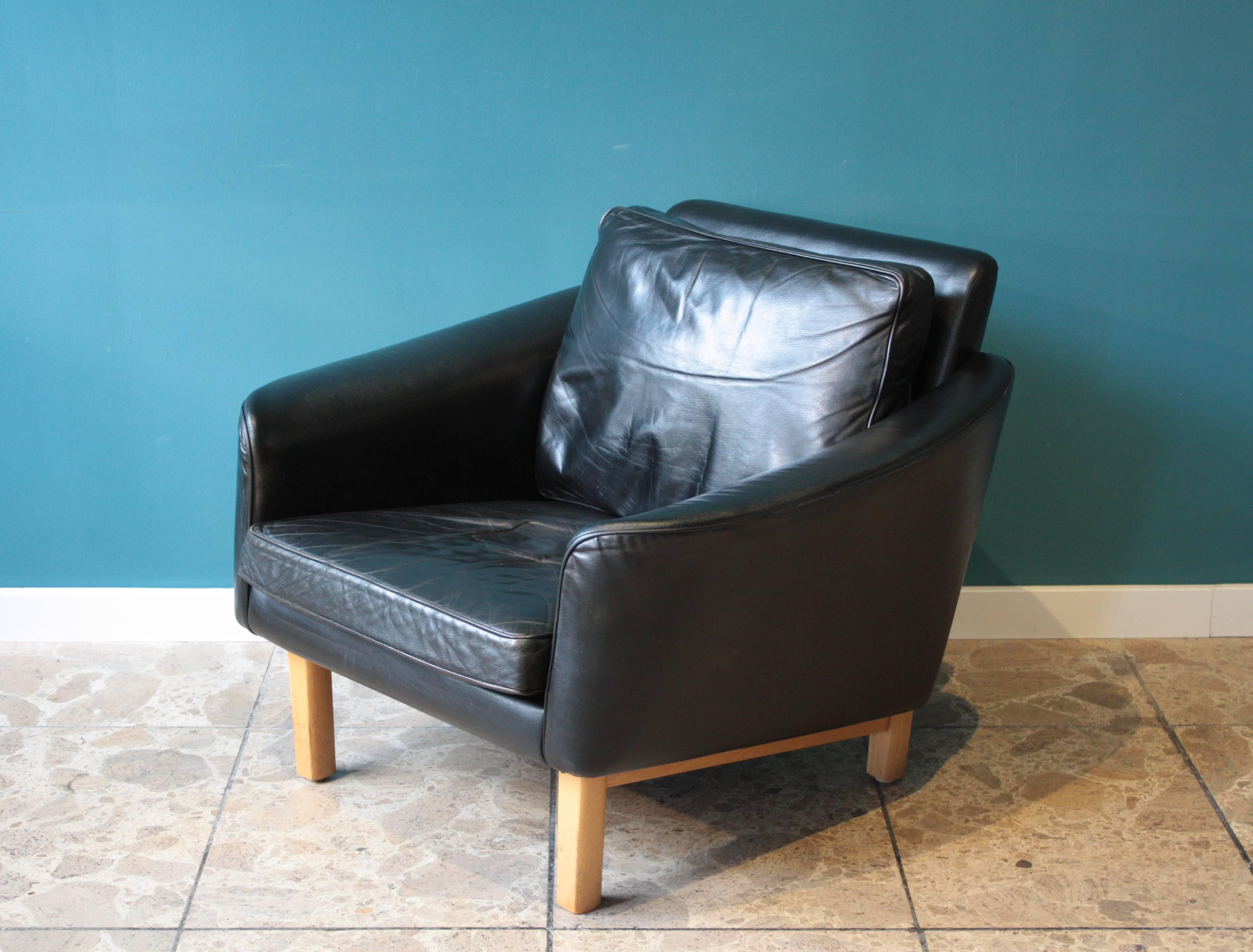 swedish leather lounge chair by lennart bender for ulferts 1960s at
