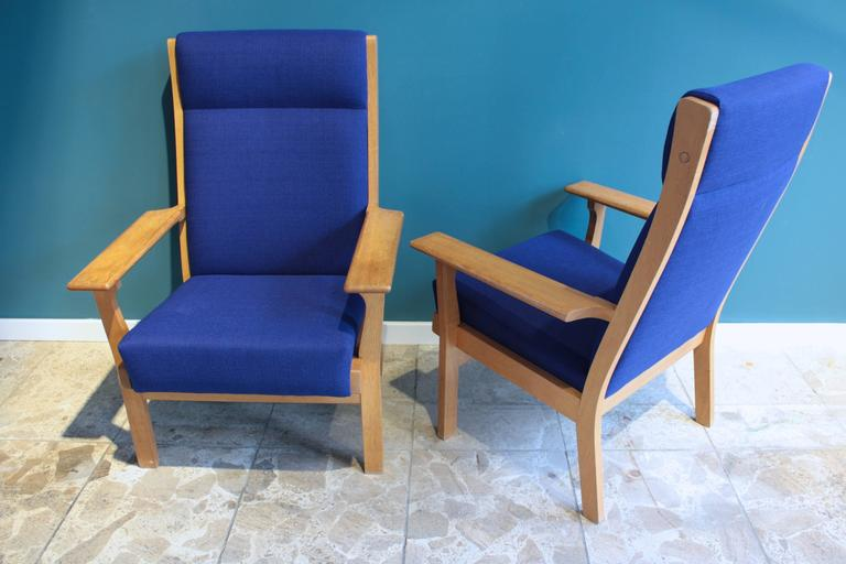 Mid-Century Modern Vintage Ge 181 a Lounge Chairs by Hans Wegner for GETAMA, Set of Two For Sale