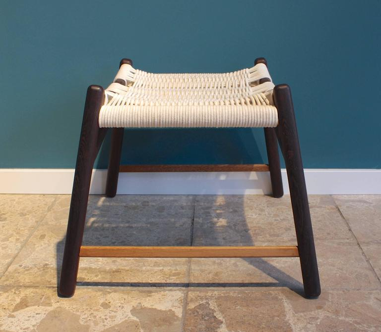 Stool with Frame of Wengé and Bars of Oak with Woven Seat by Martin Godsk 2