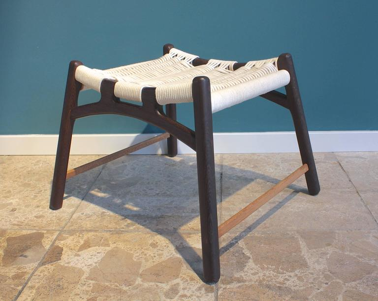 Stool with Frame of Wengé and Bars of Oak with Woven Seat by Martin Godsk 4