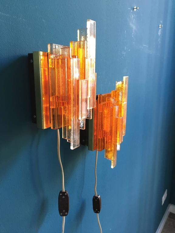 Wall Lights Models : Set of Two Orange Acrylic Wall Lights Model 1004 by Claus Bolby, Denmark, 1970 at 1stdibs