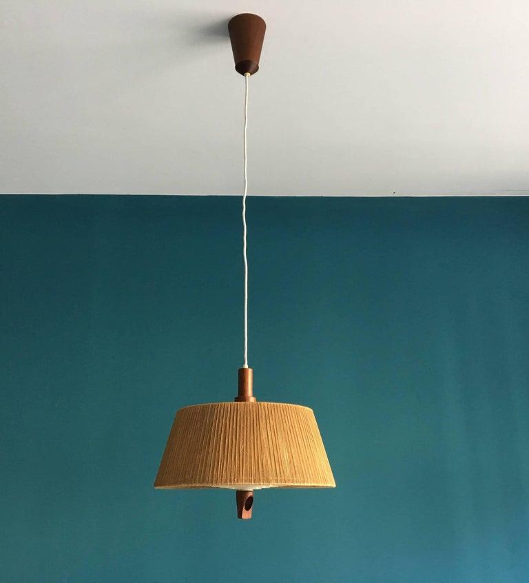 Vintage Danish Pendant Light with Hemp String Shade For Sale at 1stdibs