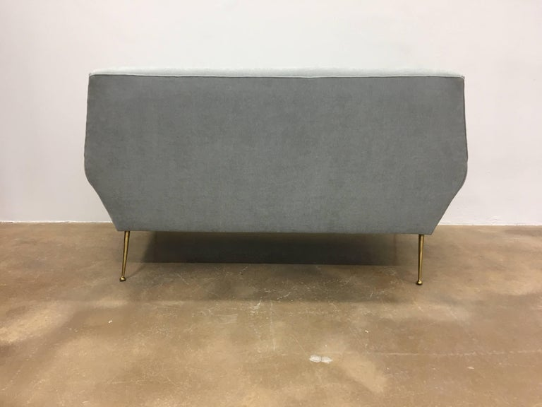 Italian Reupholstered Grey Midcentury Sofa by Gigi Radice for Minotti For Sale