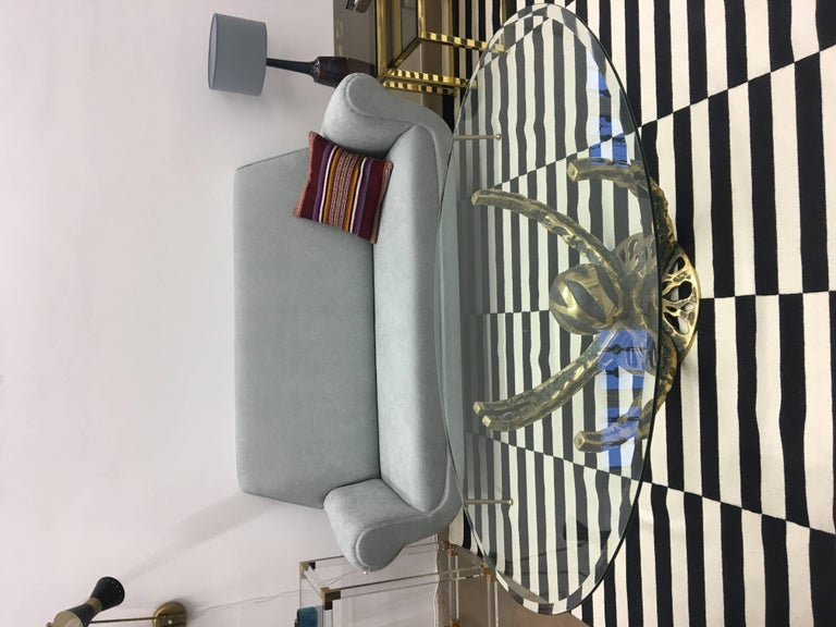 Reupholstered Grey Midcentury Sofa by Gigi Radice for Minotti For Sale 1