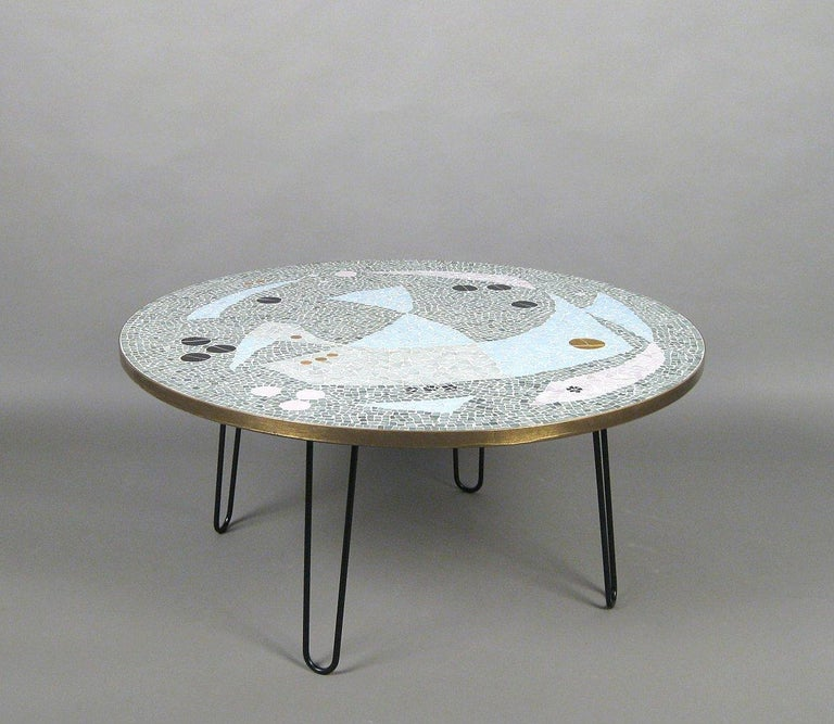 This Large Circular Coffee Table Was Produced In The 1950s Germany Top Features