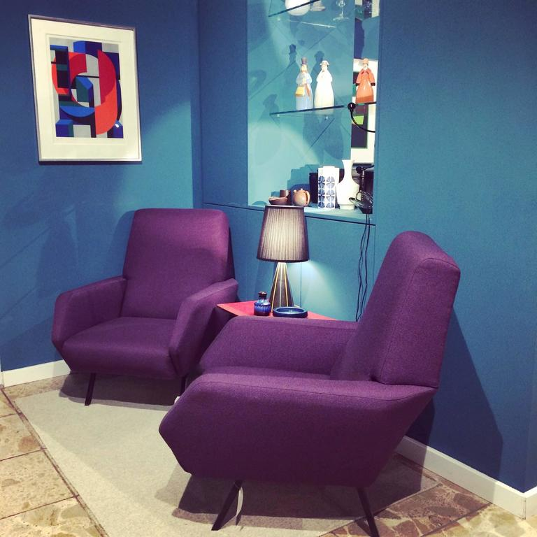 1950s Lounge Armchairs Re Upholstered In Multicolored: Pair Of Reupholstered Italian Vintage Armchairs In Metal