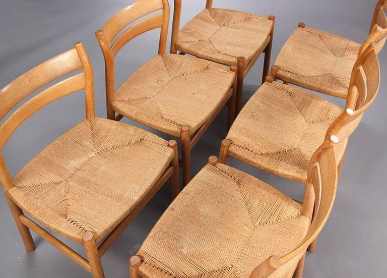 Papercord BM1 Dining Chairs by Børge Mogensen CM Madsen, Set of Six For Sale