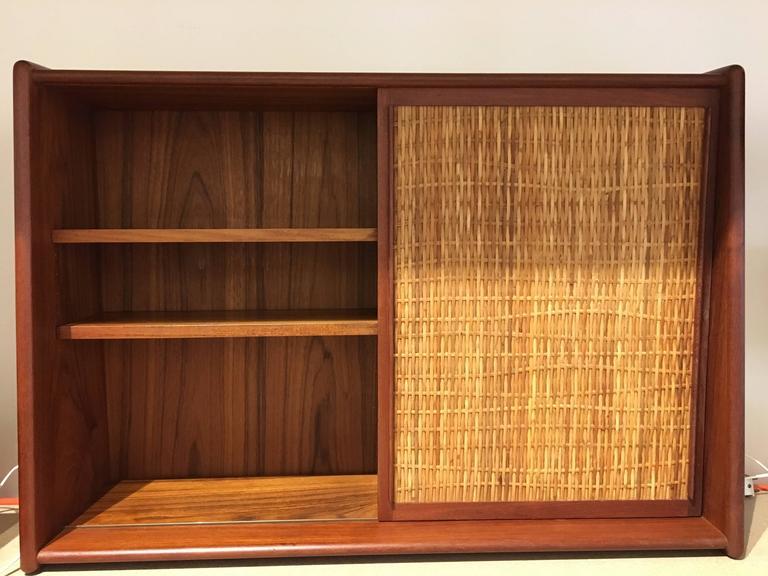 vintage teak bathroom cabinet with sliding door and mirror denmark 1960s for sale at 1stdibs. Black Bedroom Furniture Sets. Home Design Ideas