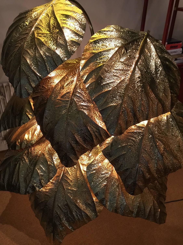 Rhubarb Leaf Sculpture Lamp 1970s Brass Carlo Giorgi For Sale At 1stdibs