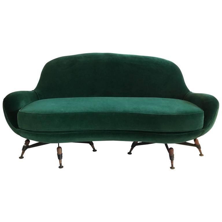 Green Velvet Sofa By Ip1963e Bologna Italy For Sale At 1stdibs