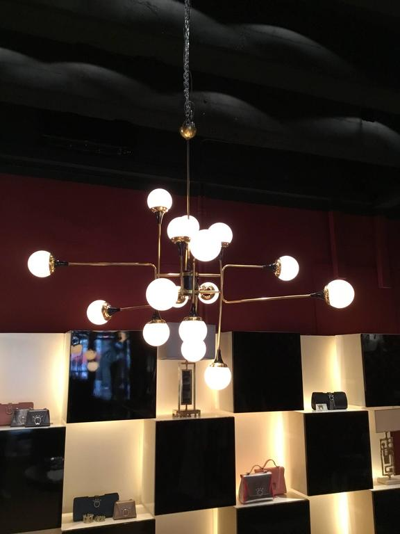 Stilnovo ceiling lamp, painted metal, brass and opaline satinated glass.  Dimensions: 112 x 112 cm.